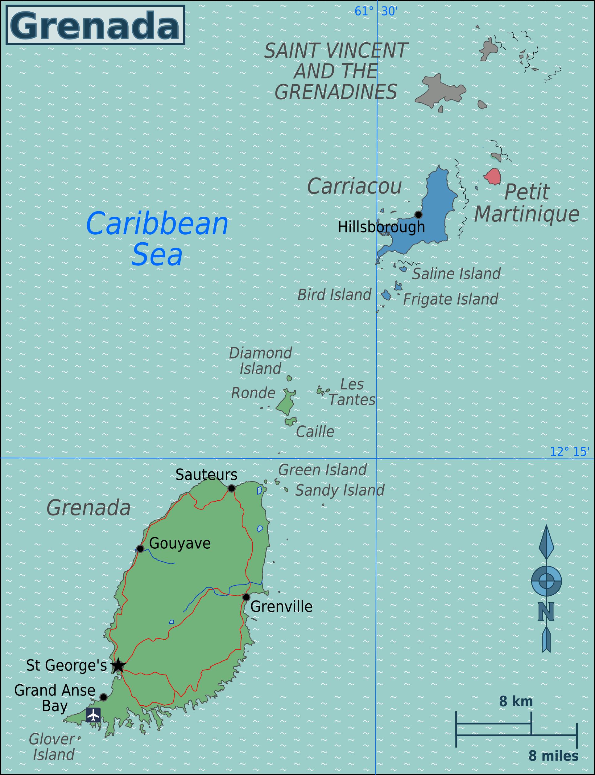 grenada karte Landkarte Grenada (Übersichtskarte) : Weltkarte.  Karten und  grenada karte