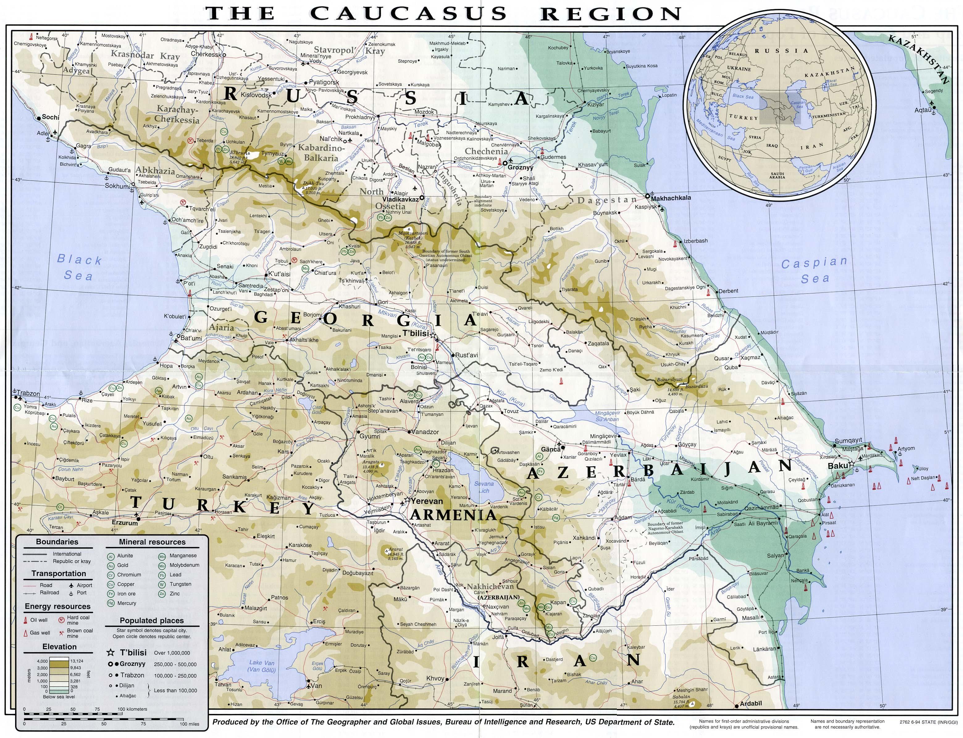 Georgien Karte.Landkarte Kaukasus Lage Von Georgien In Der Region Weltkarte Com