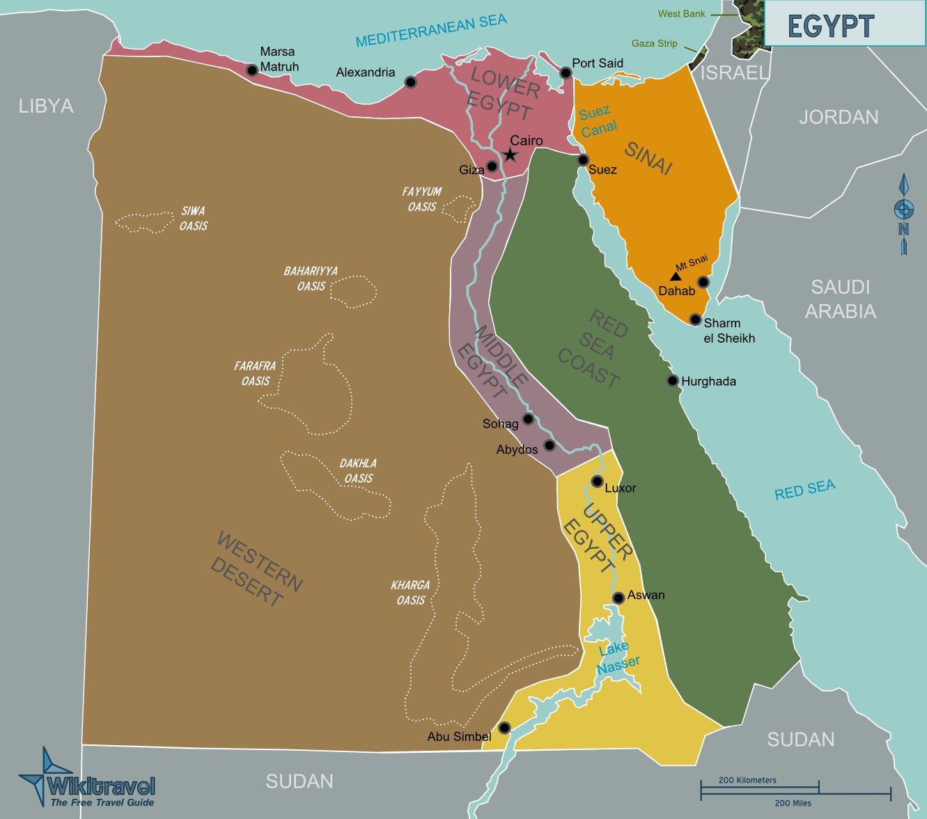Karte Von ägypten.Landkarte ägypten übersichtskarte Regionen Weltkarte Com