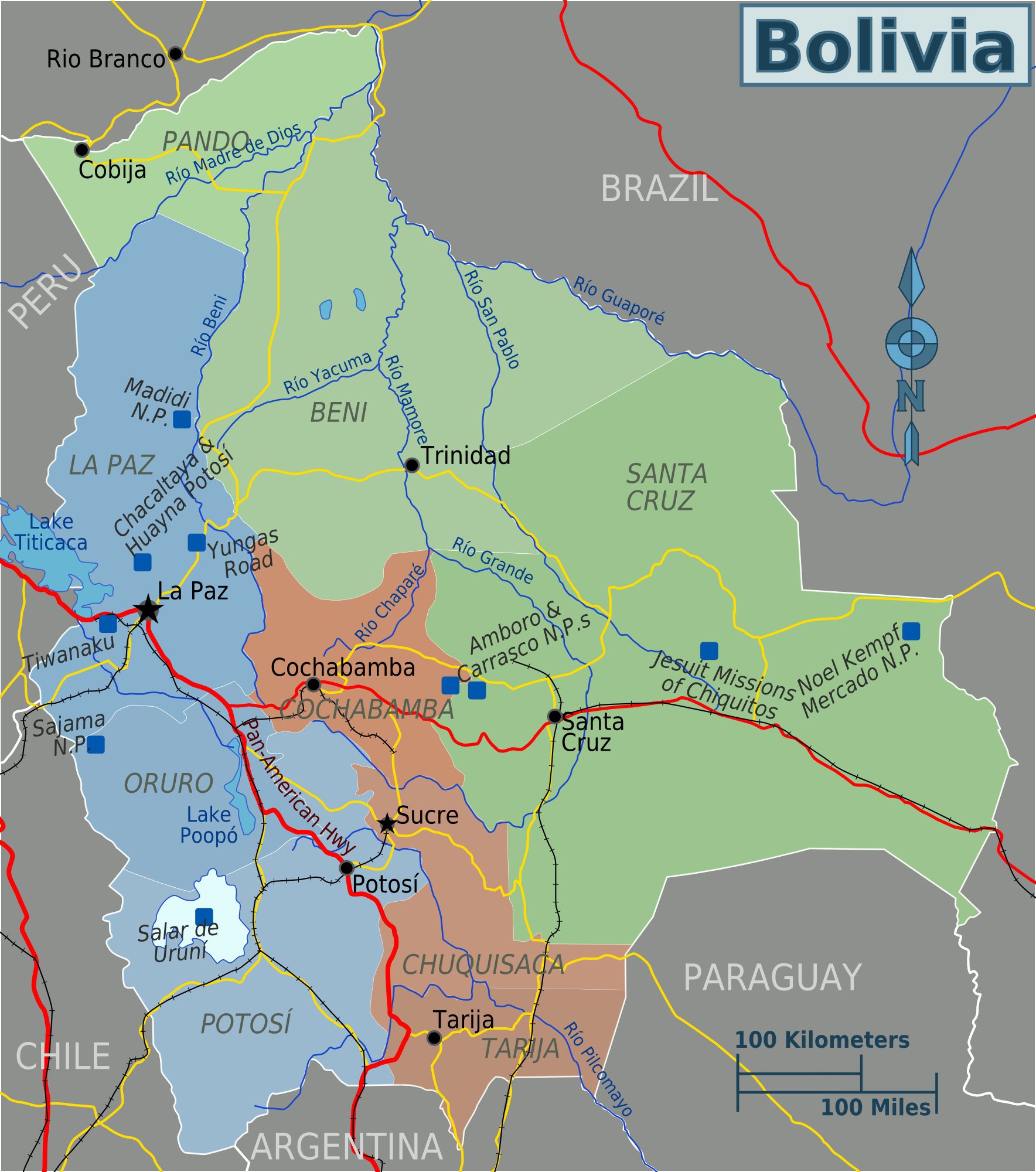 bolivien karte Landkarte Bolivien (Regionen) : Weltkarte.  Karten und