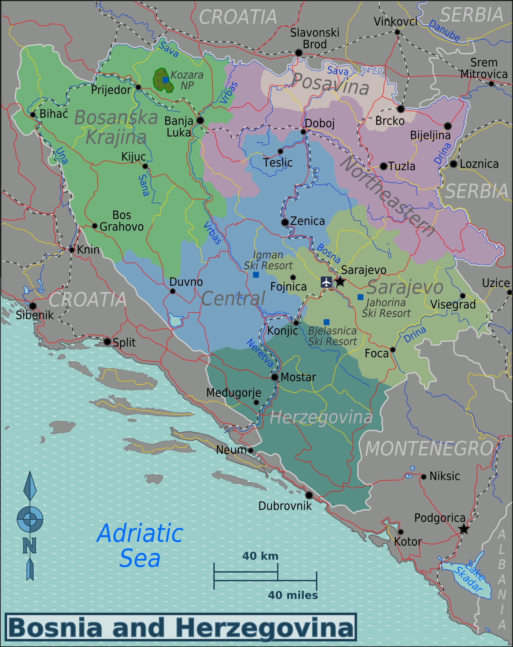 bosnien karte Landkarte Bosnien Herzegowina (Karte Regionen) : Weltkarte.