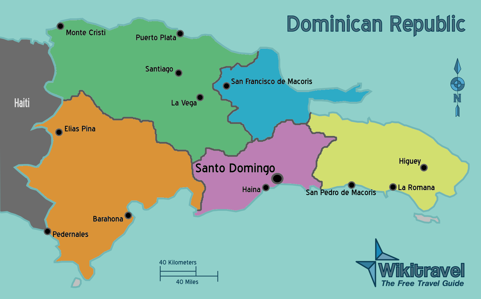 dominikanische republik karte Landkarte Dominikanische Republik (Regionen) : Weltkarte.