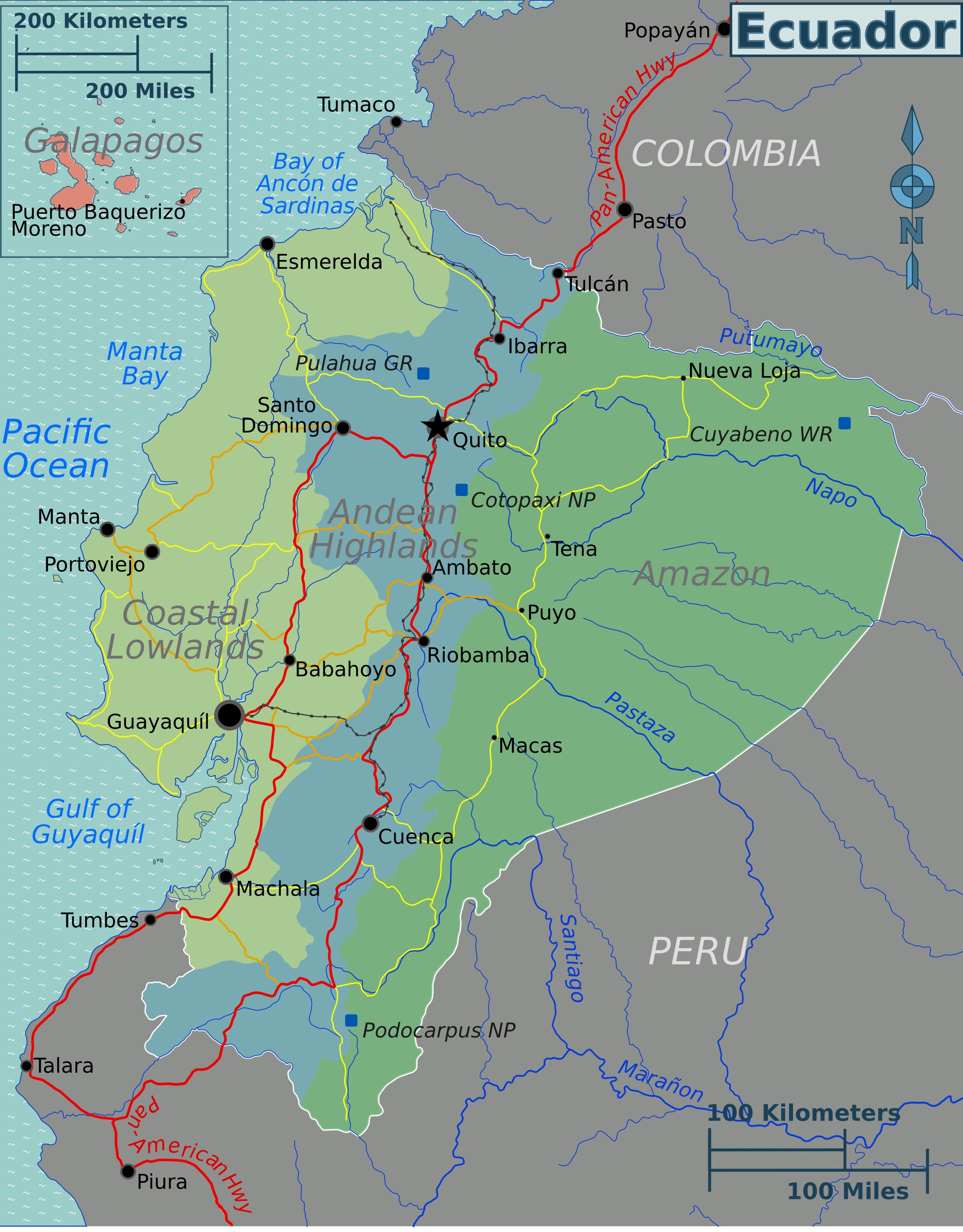 karte ecuador Landkarte Ecuador (Übersichtskarte/Regionen) : Weltkarte. karte ecuador