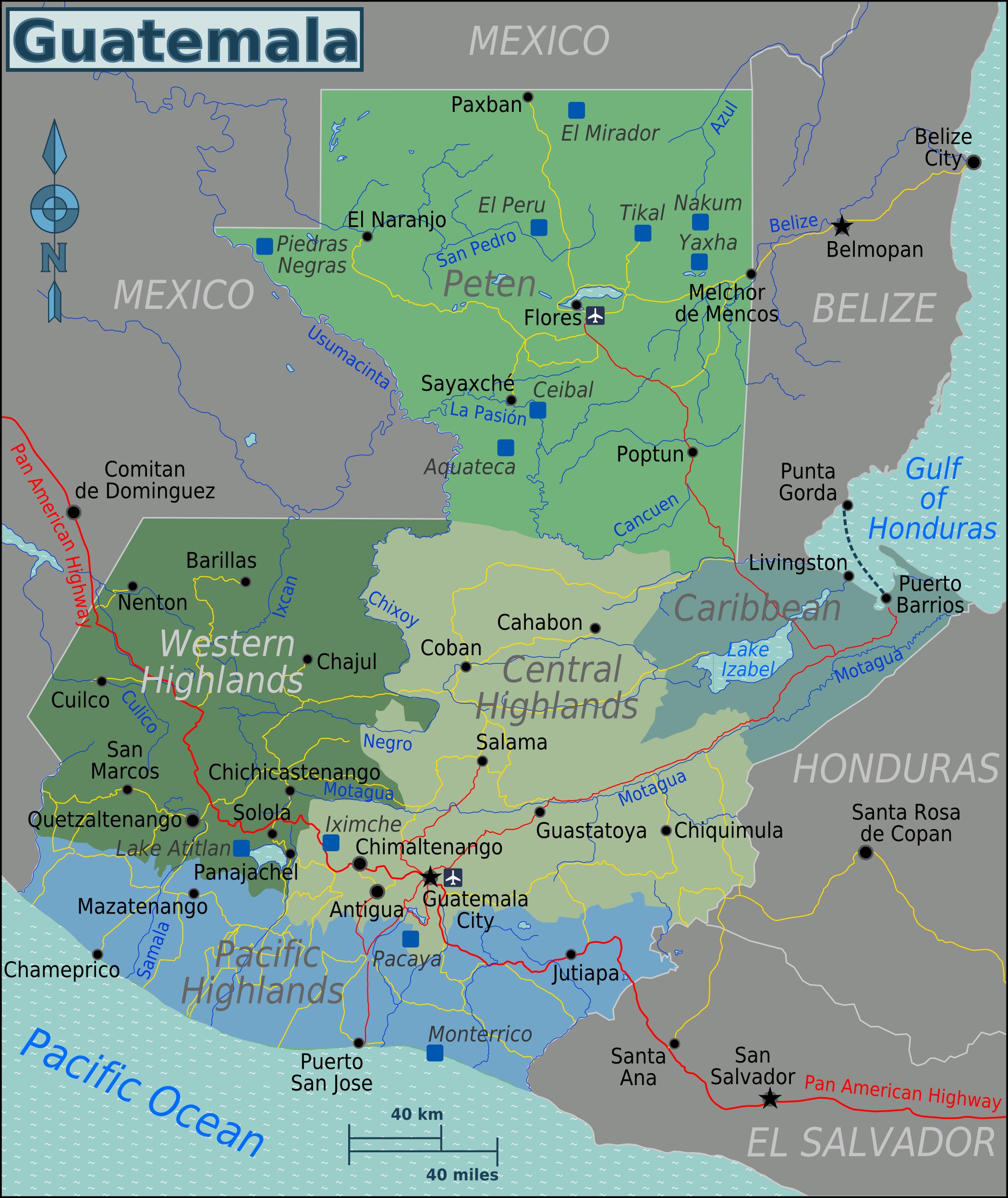 guatemala karte Landkarte Guatemala (Karte Regionen) : Weltkarte.  Karten und