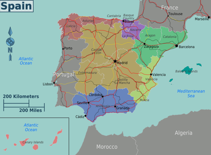Karte Regionen Spanien