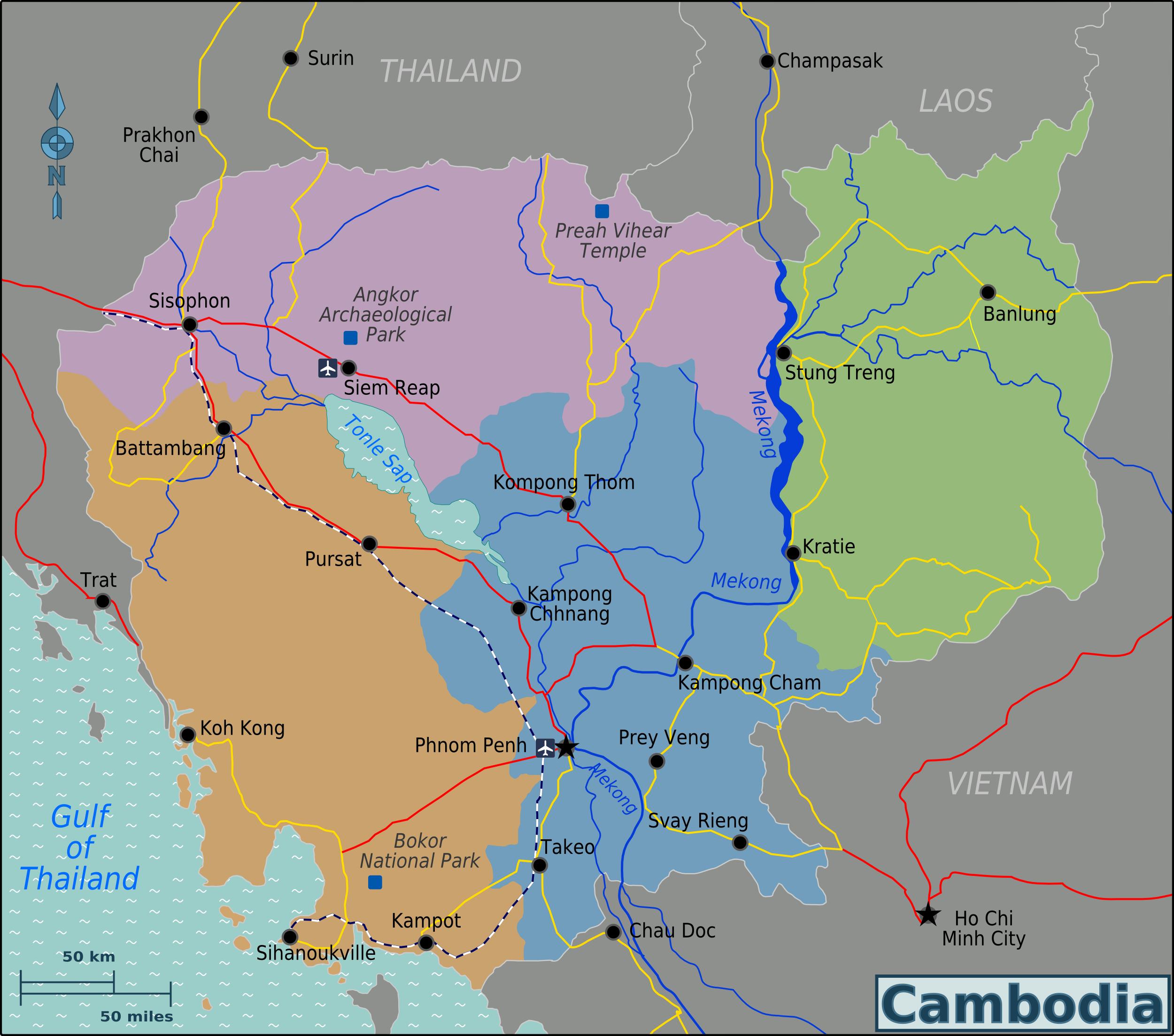Kambodscha Karte.Landkarte Kambodscha Karte Regionen Weltkarte Com