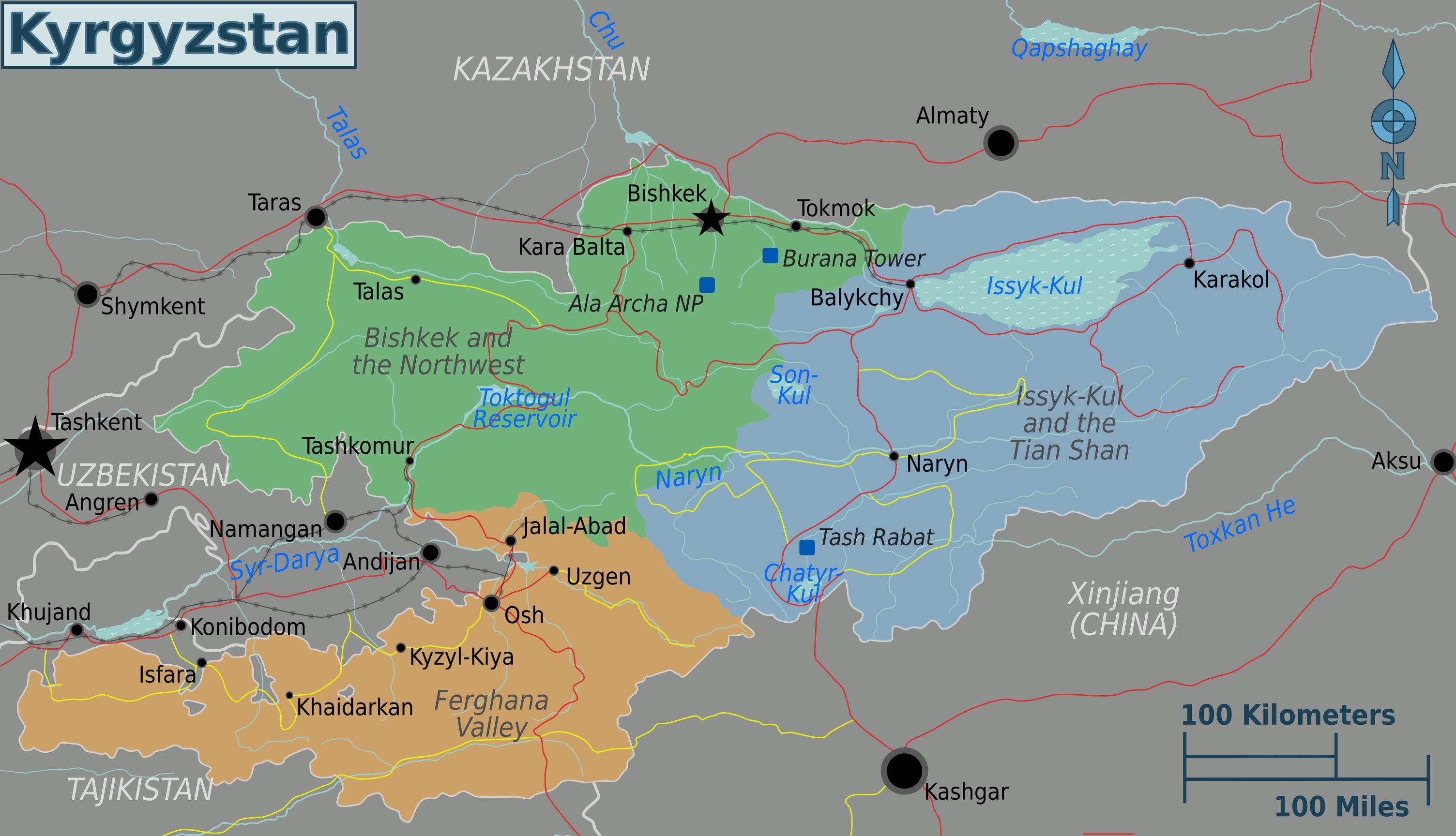 kirgisistan karte Landkarte Kirgisistan (Karte Regionen) : Weltkarte.  Karten