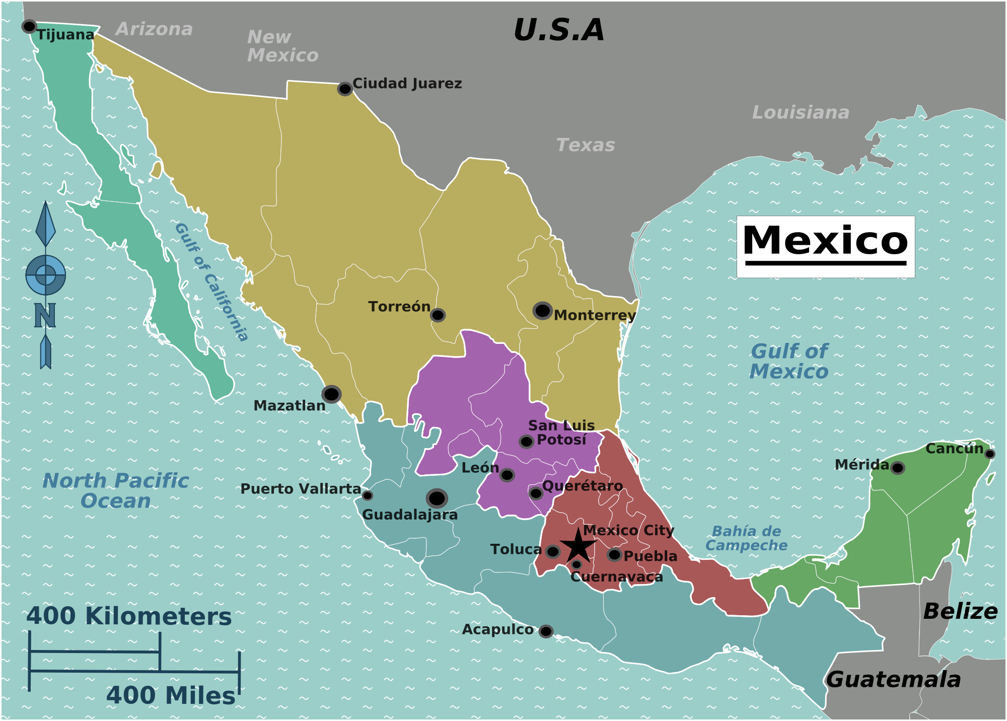 Mexiko Karte Welt.Landkarte Mexiko Uberischtskarte Weltkarte Com Karten