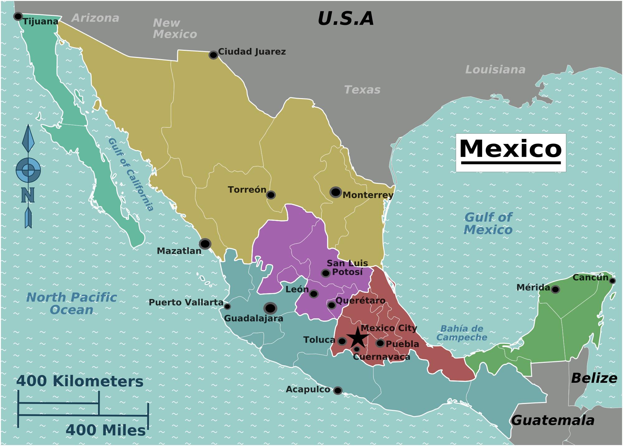 mexiko weltkarte Landkarte Mexiko (Überischtskarte) : Weltkarte.  Karten und  mexiko weltkarte
