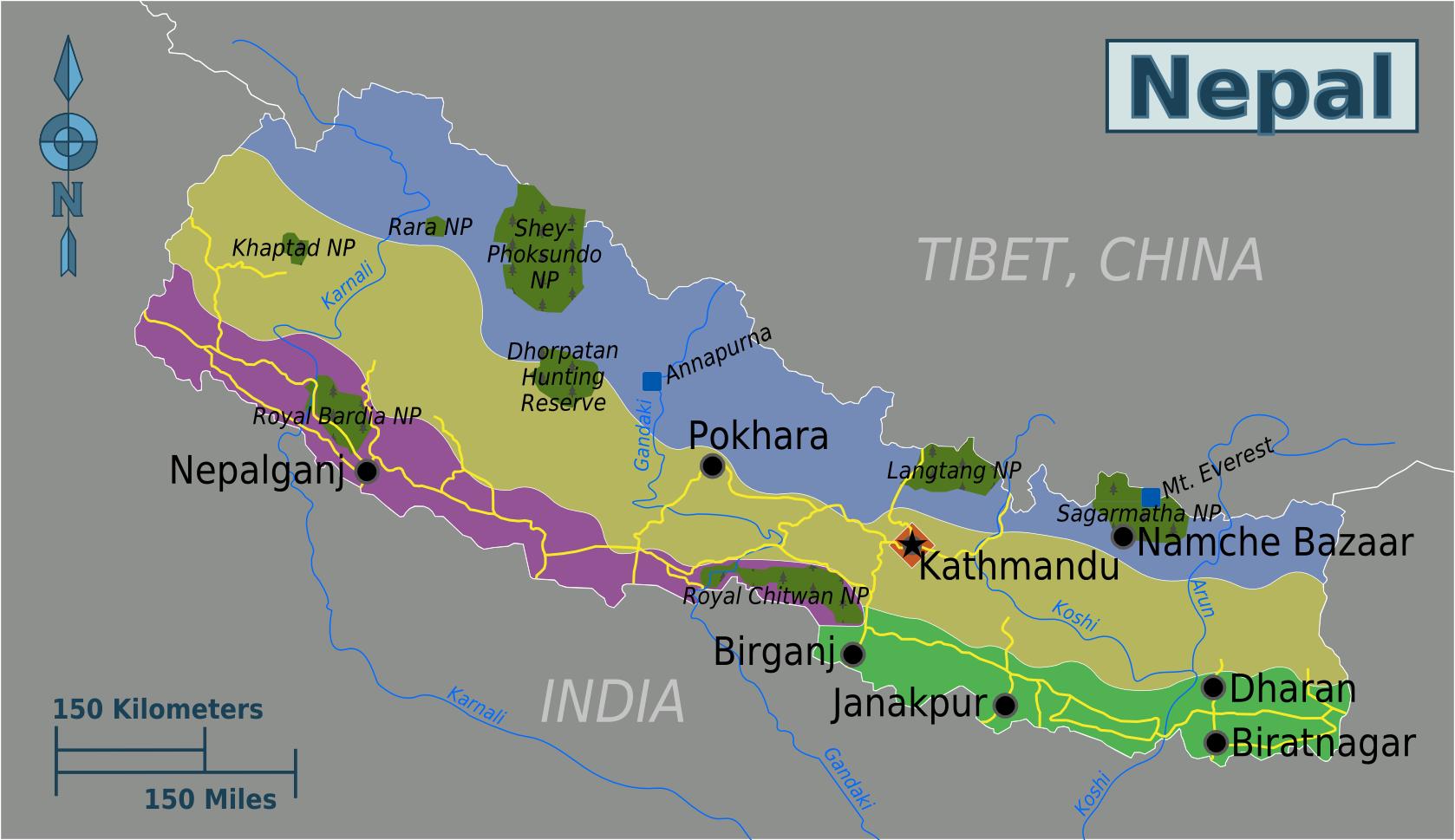 Map of Nepal (Map Regions) : Worldofmaps net - online Maps