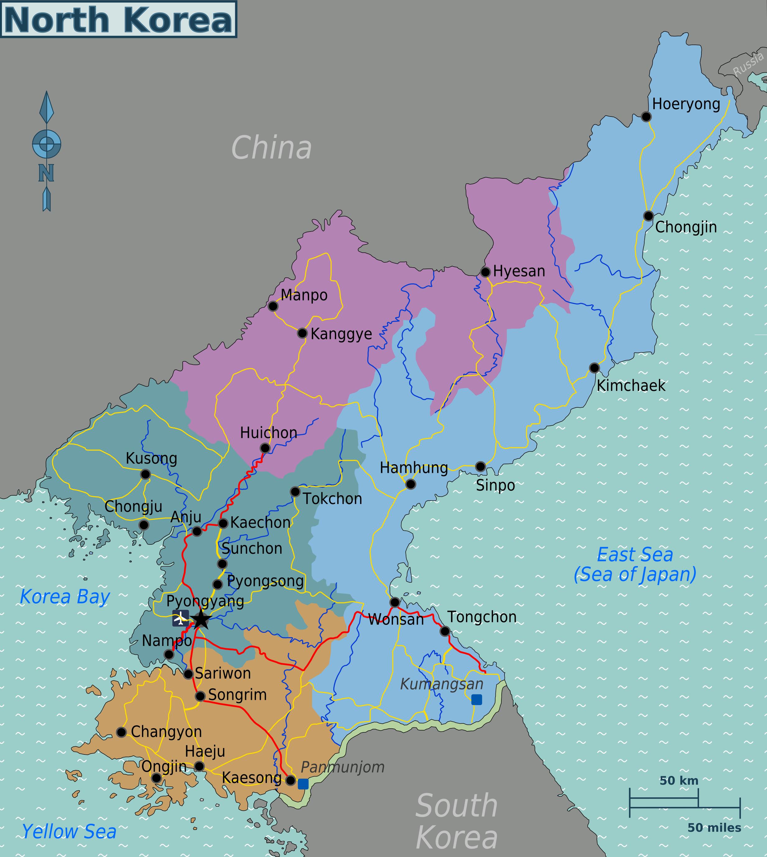 karte nordkorea Landkarte Nordkorea (Karte Regionen) : Weltkarte.  Karten und