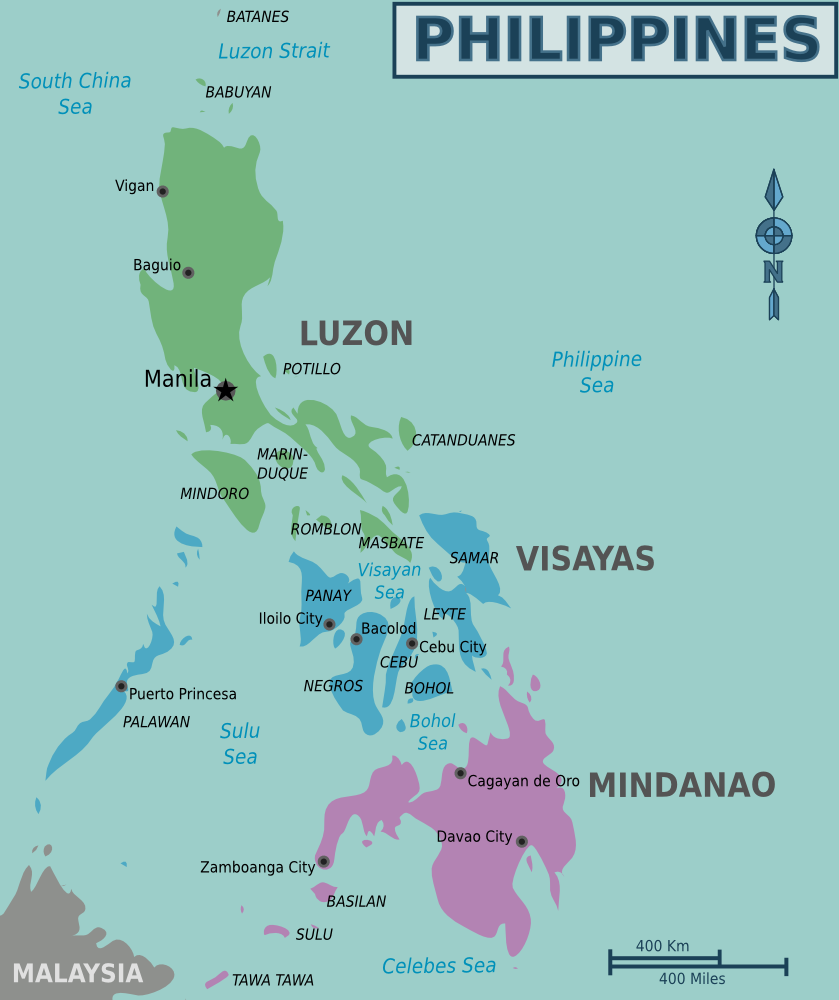 Karte Philippinen.Lankdarte Philippinen übersichtskarte Regionen Weltkarte Com