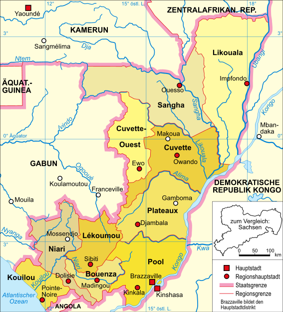 Landkarte Deutsch.Landkarte Republik Kongo Karte Regionen Deutsch
