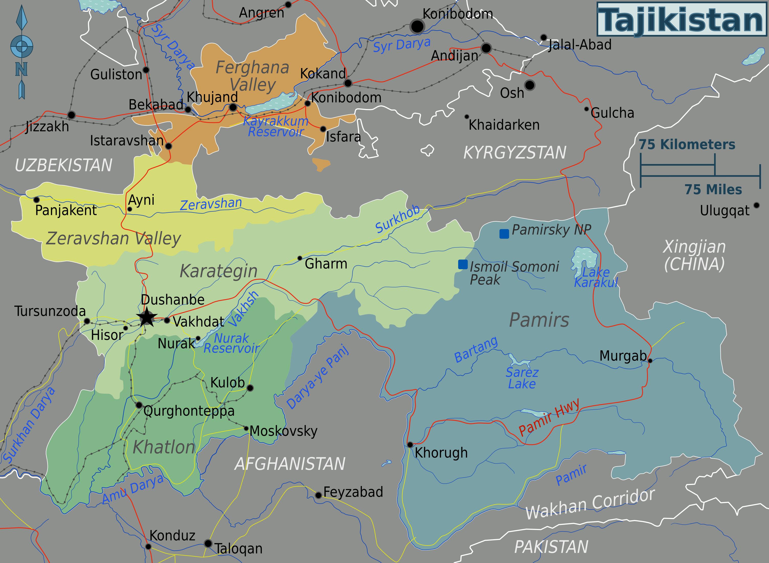 tadschikistan karte Landkarte Tadschikistan (Karte Regionen) : Weltkarte.  Karten