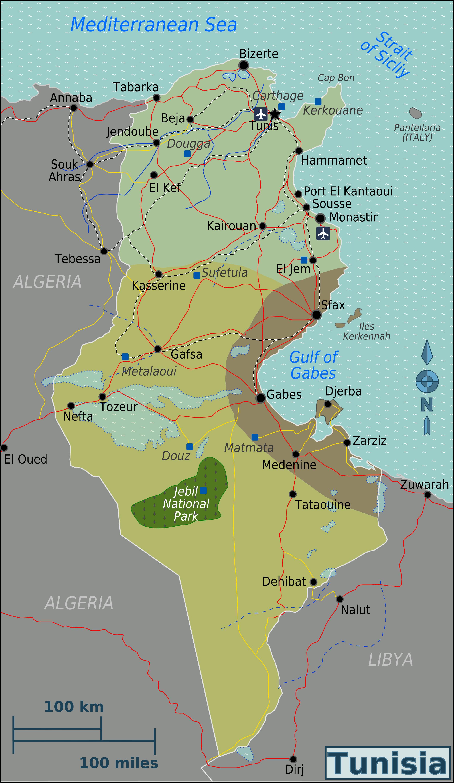 Tunesien Karte.Landkarte Tunesien Ubersichtskarte Regionen Weltkarte