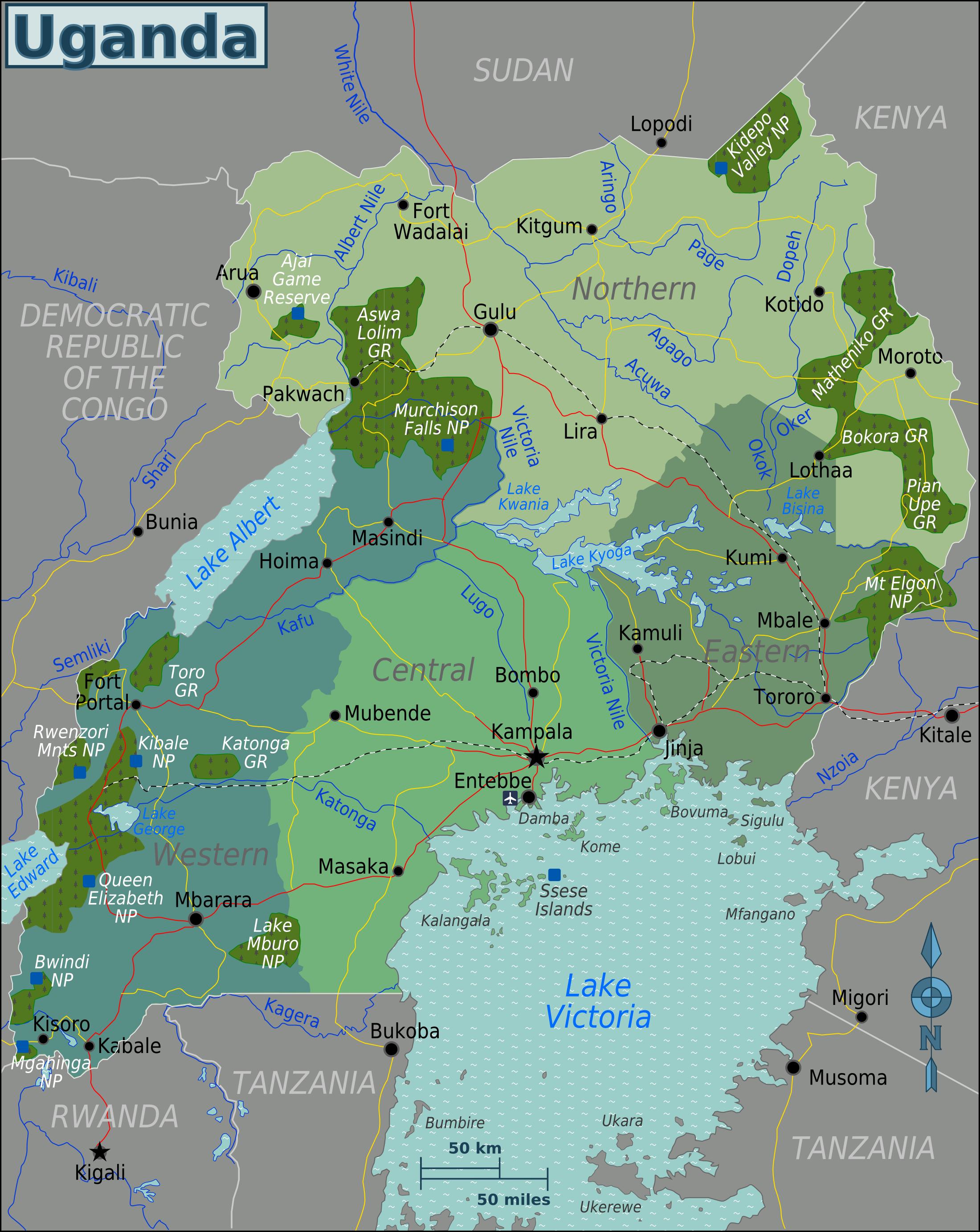 uganda karte Karte Uganda (Übersichtskarte/Regionen) : Weltkarte.  Karten