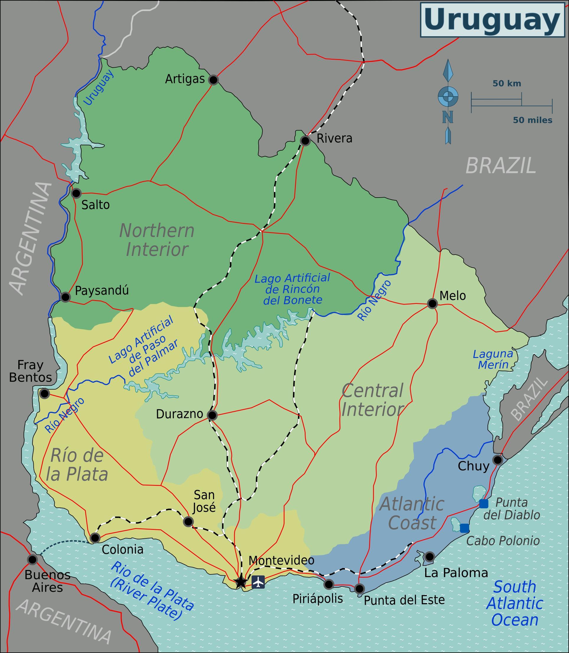 uruguay landkarte Landkarte Uruguay (Übersichtskarte/Regionen) : Weltkarte. uruguay landkarte
