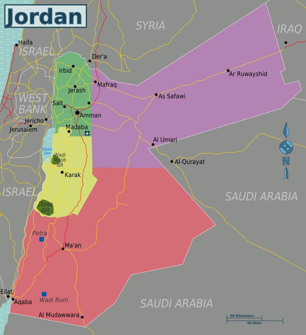 Jordanien Karte.Landkarte Jordanien Regionen Weltkarte Com Karten Und