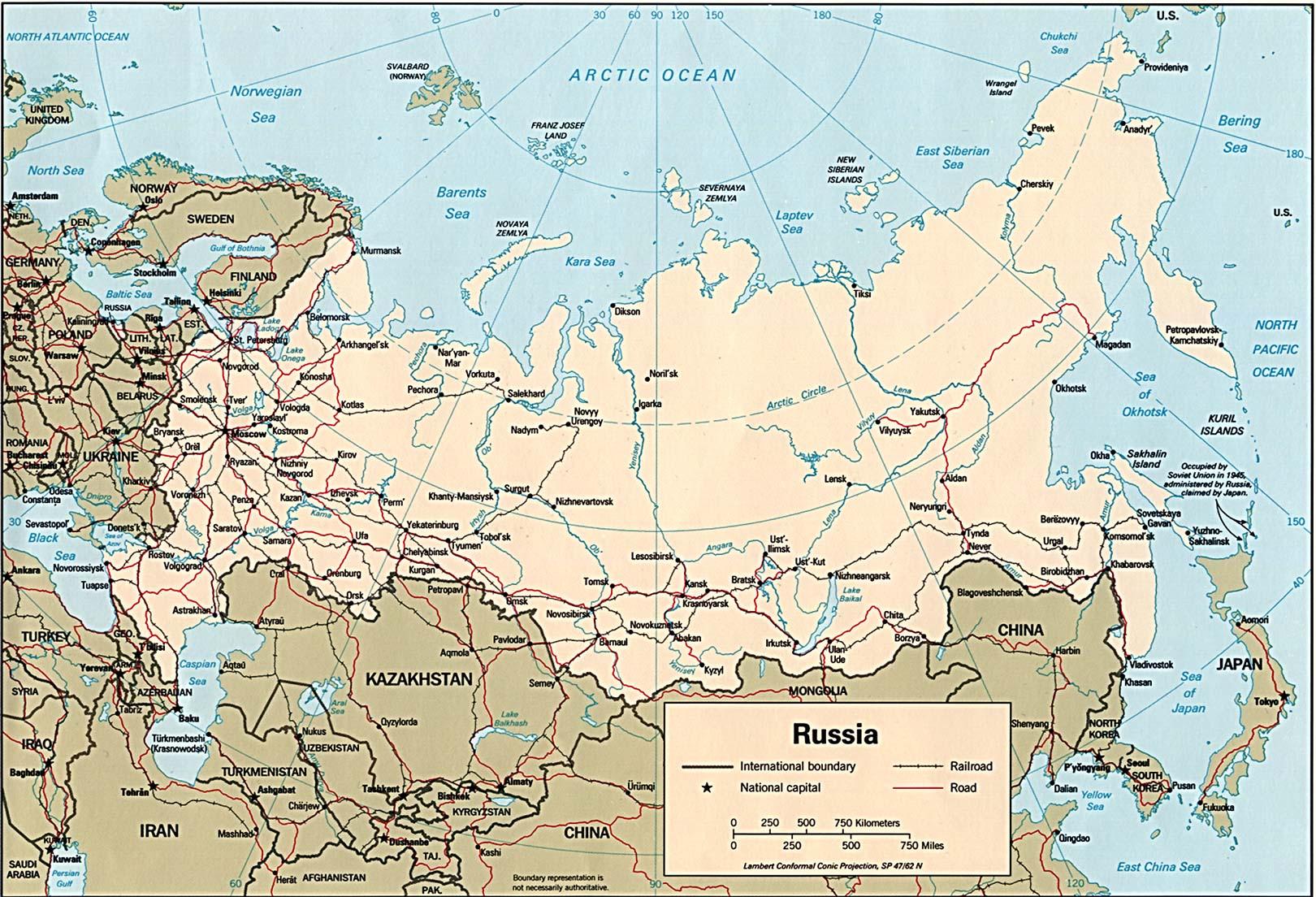 Karte Russland.Landkarte Russland Politische Karte Weltkarte Com
