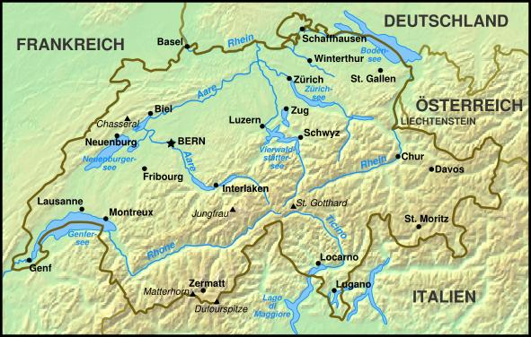 Landkarte Schweiz (Übersichtskarte) : Weltkarte.com - Karten und Stadtpläne der Welt