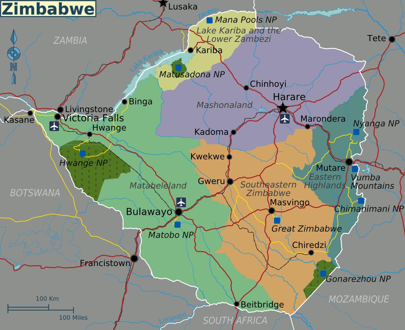 simbabwe karte Landkarte von Simbabwe (Übersichtskarte/Regionen) : Weltkarte.
