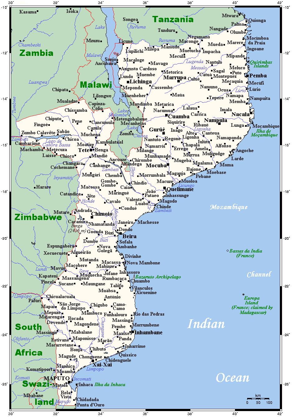 Mosambik Karte.Landkarte Mosambik übersichtskarte Städte Weltkarte Com Karten