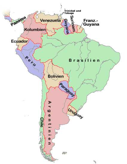 weltkarte südamerika Landkarte Südamerika (Politische Karte, deutsche Namen  weltkarte südamerika