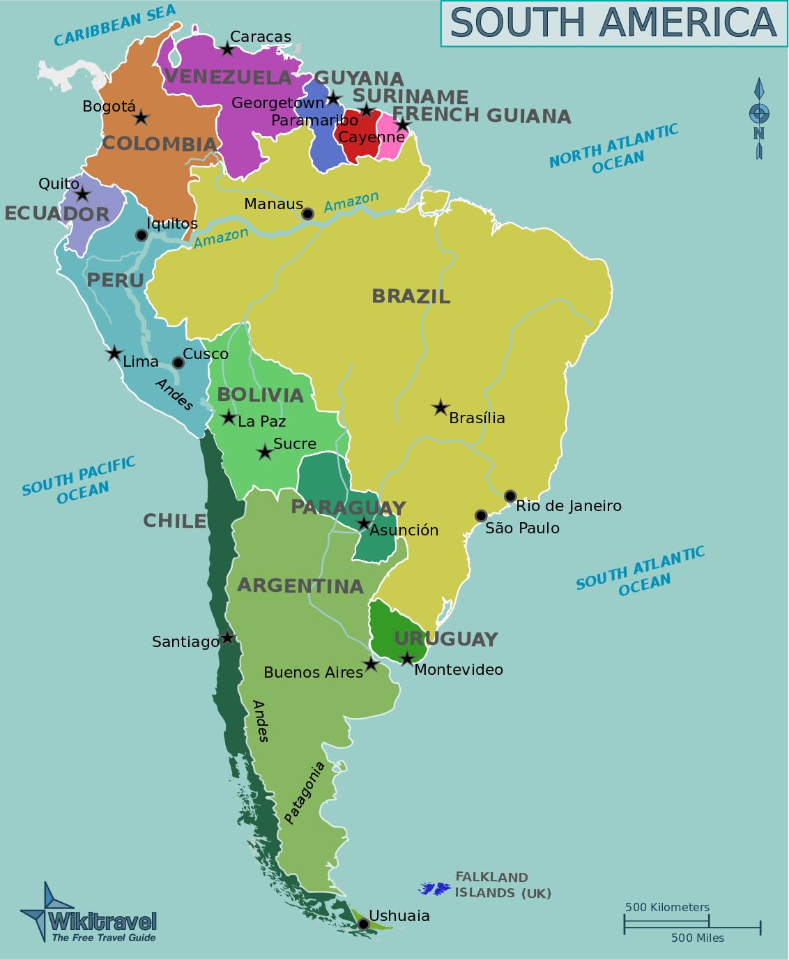 Landkarte Sudamerika Politische Karte Englische Namen