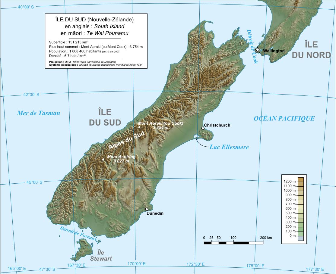 Karte Neuseeland Topographische Karte Sudinsel Weltkarte Com