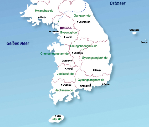 Südkorea Karte.Landkarten Südkorea übersichtskarte Weltkarte Com Karten Und