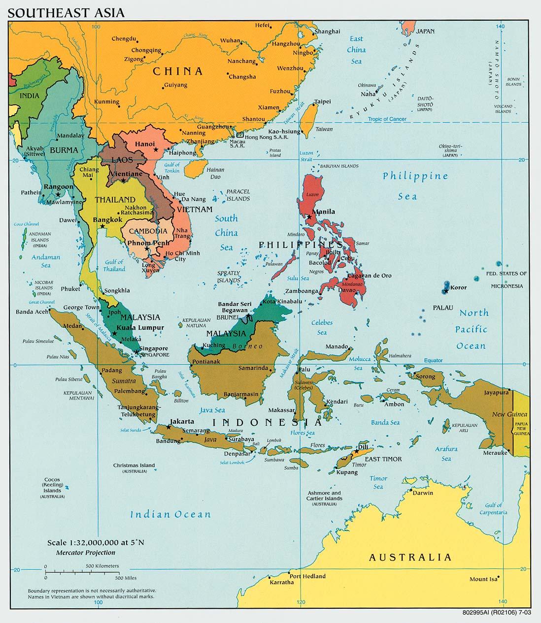 Karte Sudost Asien Politische Karte Weltkarte Com Karten Und