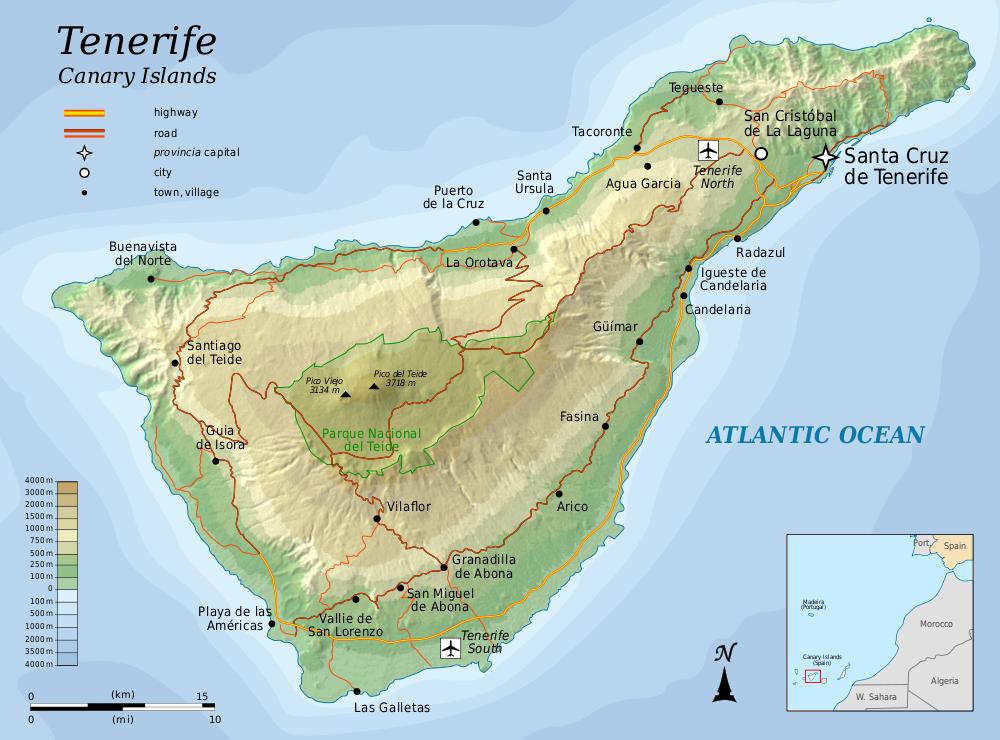 Teneriffa Karte Europa.Karte Teneriffa Reliefkarte Weltkarte Com Karten Und