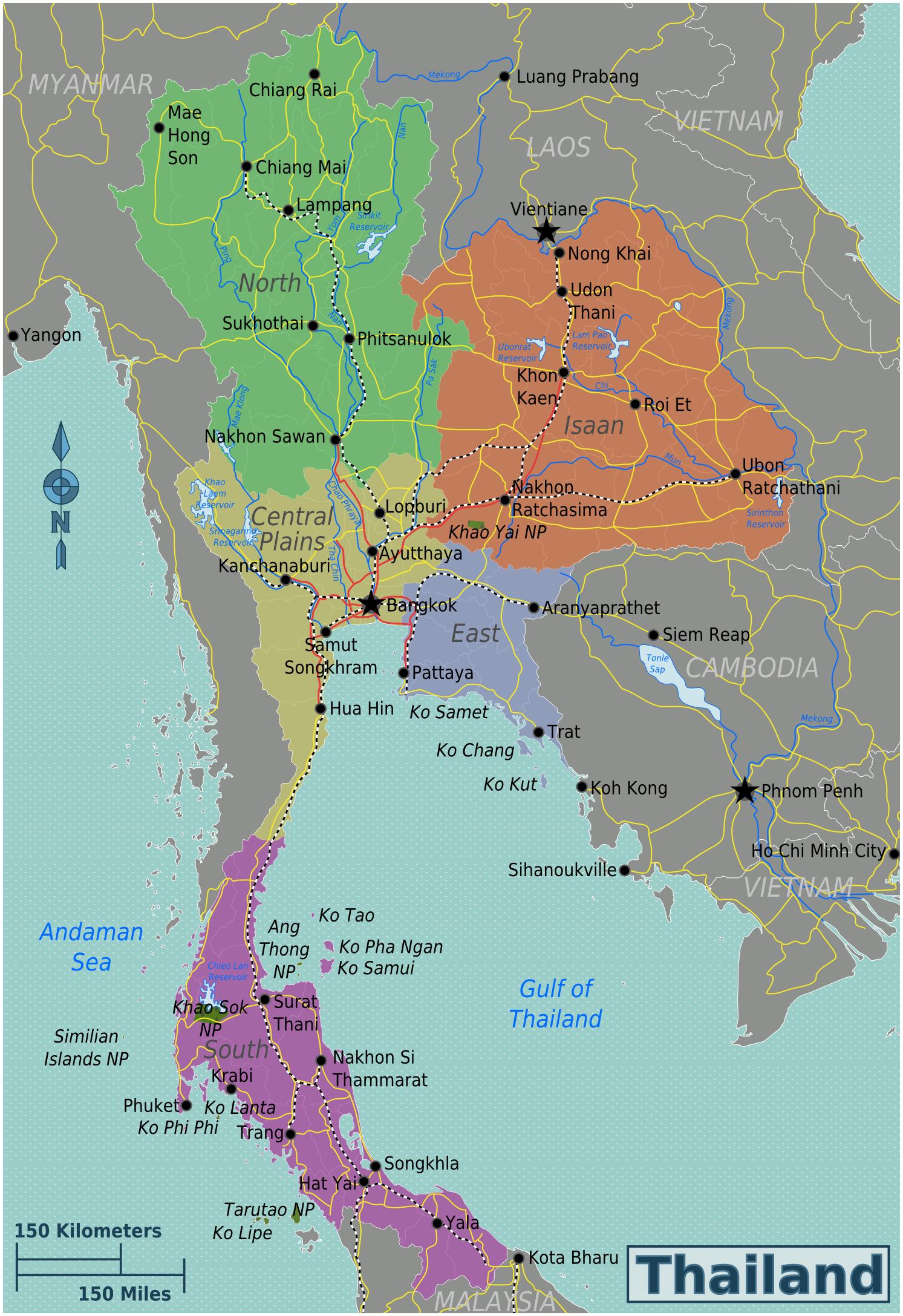 Landkarte Thailand Regionen