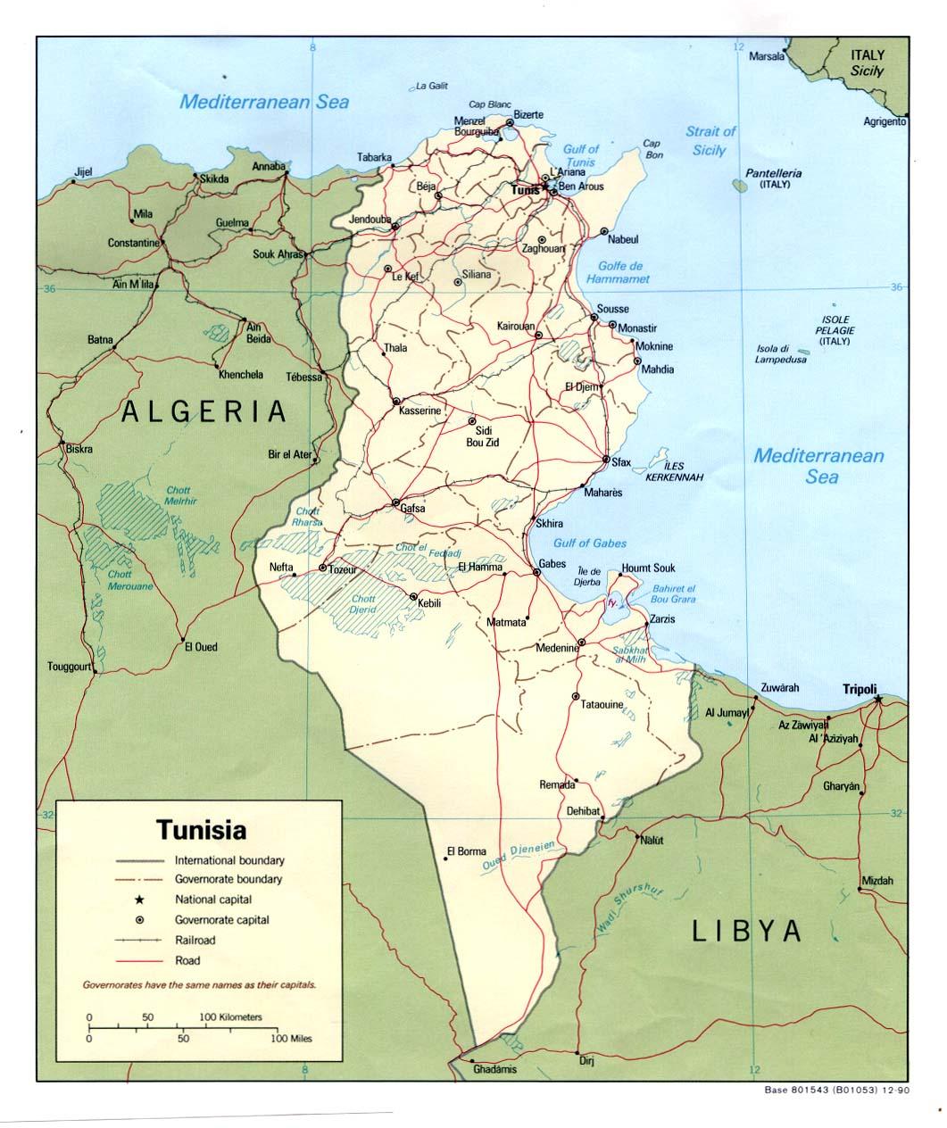 Tunesien Karte Welt.Landkarte Tunesien Politische Karte Weltkarte Com