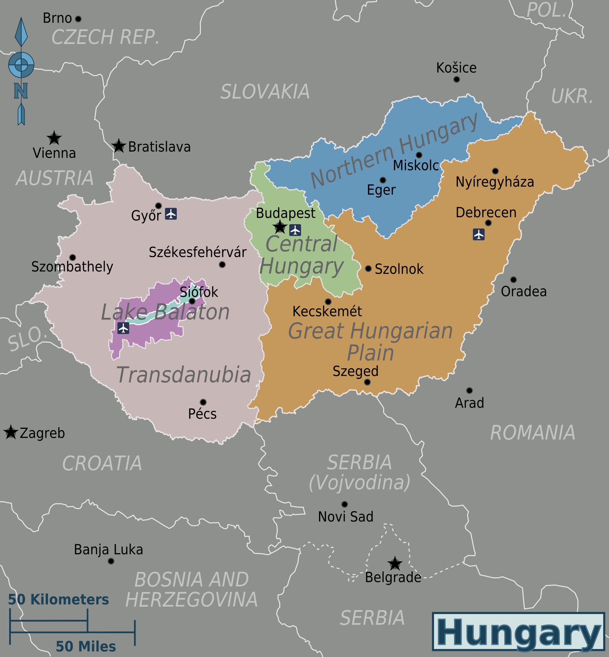 Landkarte Ungarn Politische Karte Regionen Weltkarte Com