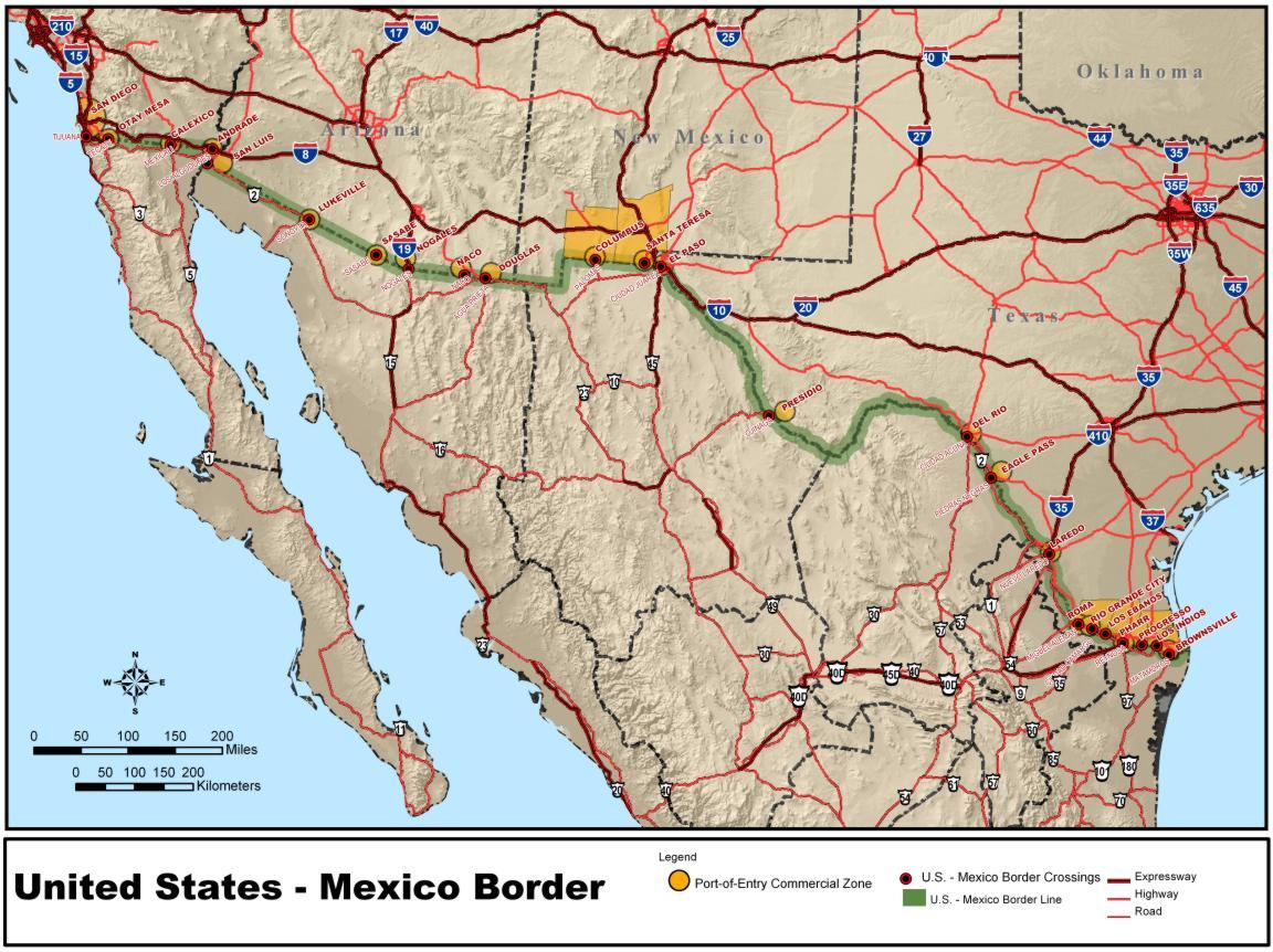 Mexiko Karte Welt.Landkarte Mexiko Grenze Usa Mexiko Weltkarte Com