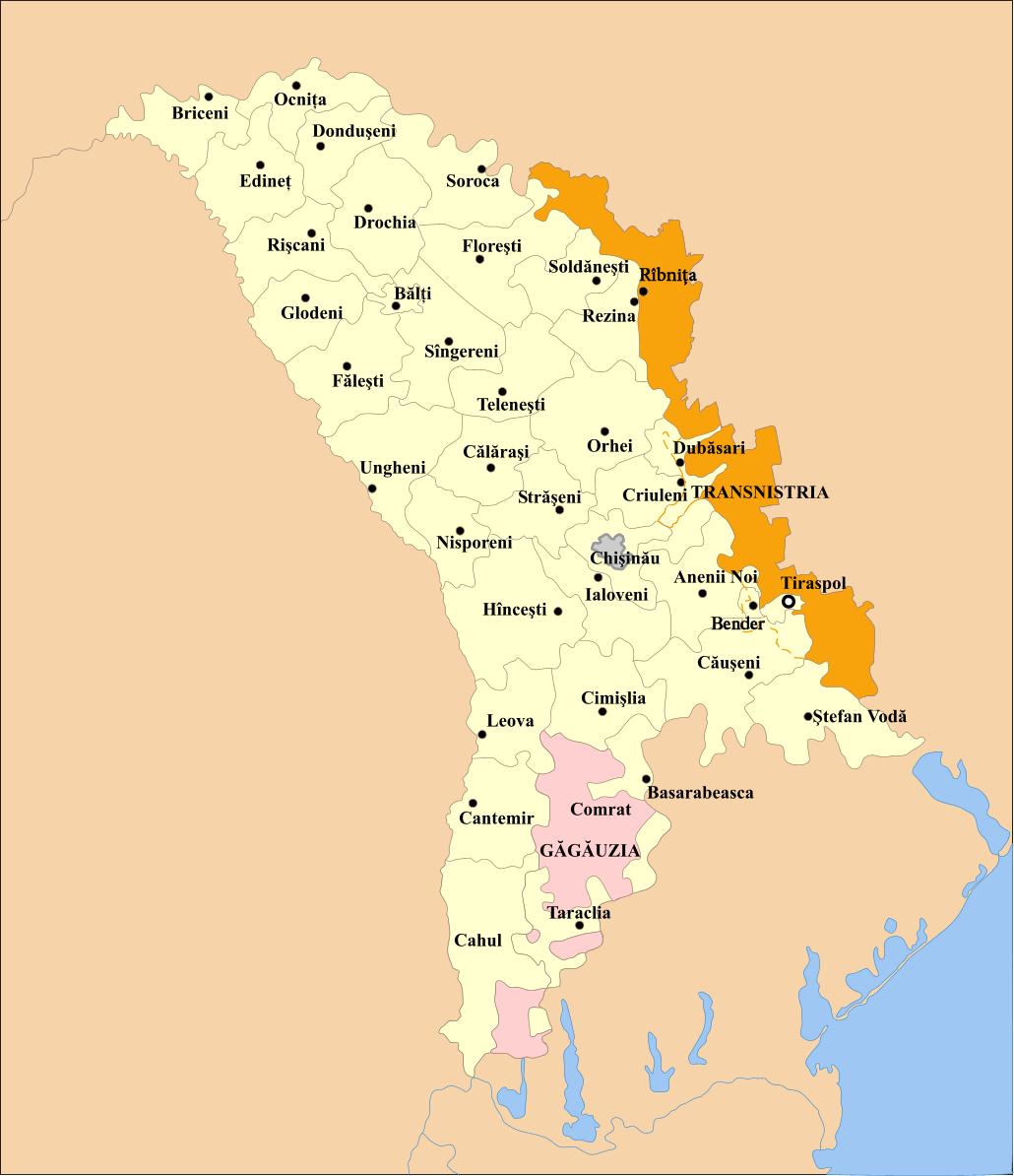 Moldawien Karte.Landkarte Moldawien Karte Verwaltungsbezirke Weltkarte Com
