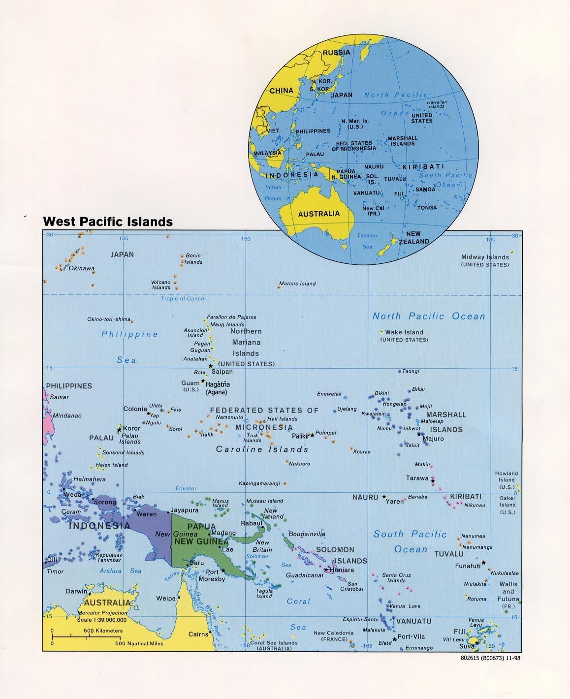 pazifik karte Karte West Pazifik : Weltkarte.  Karten und Stadtpläne der Welt