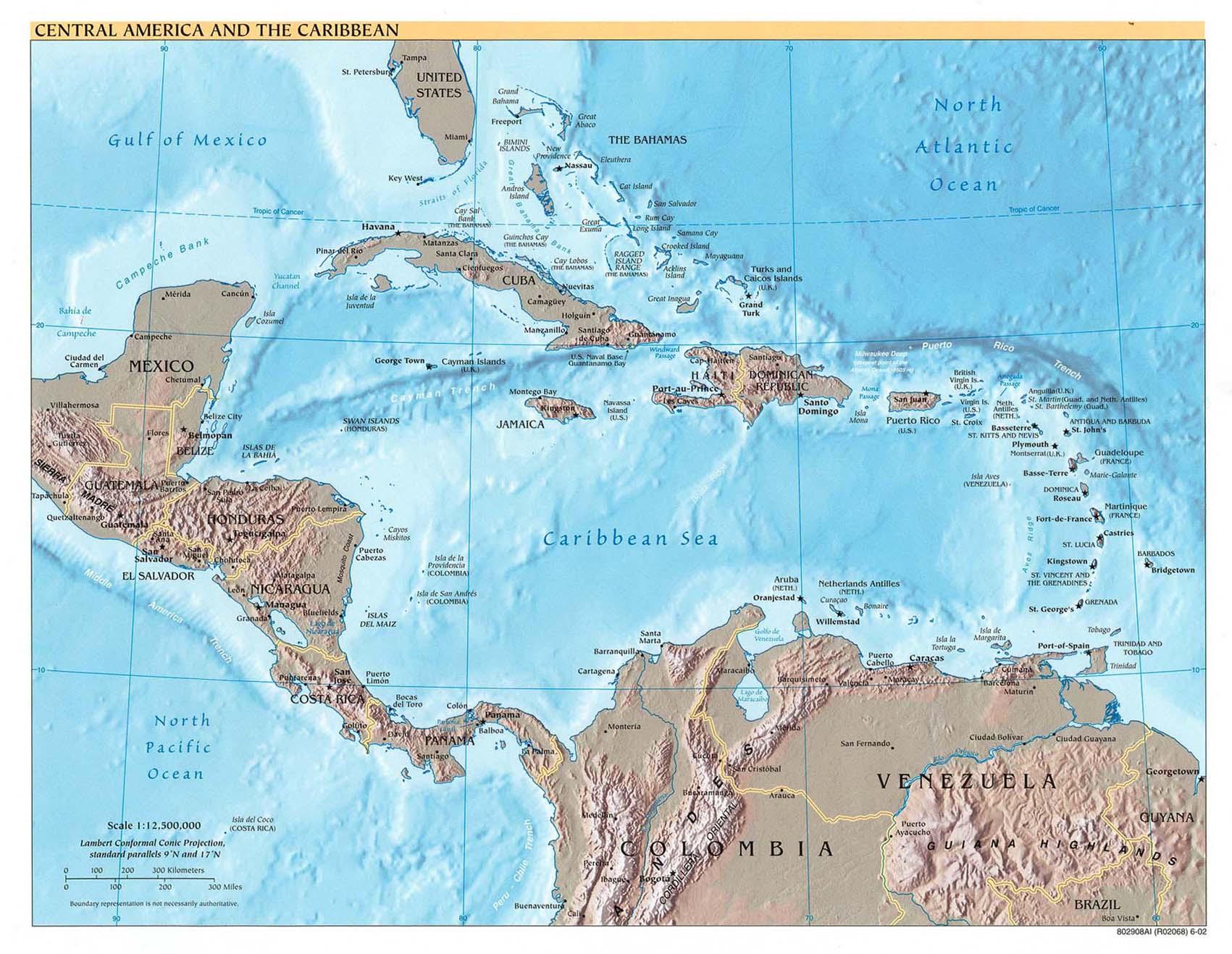 Landkarte Mittelamerika Und Karibik Weltkarte Com Karten Und