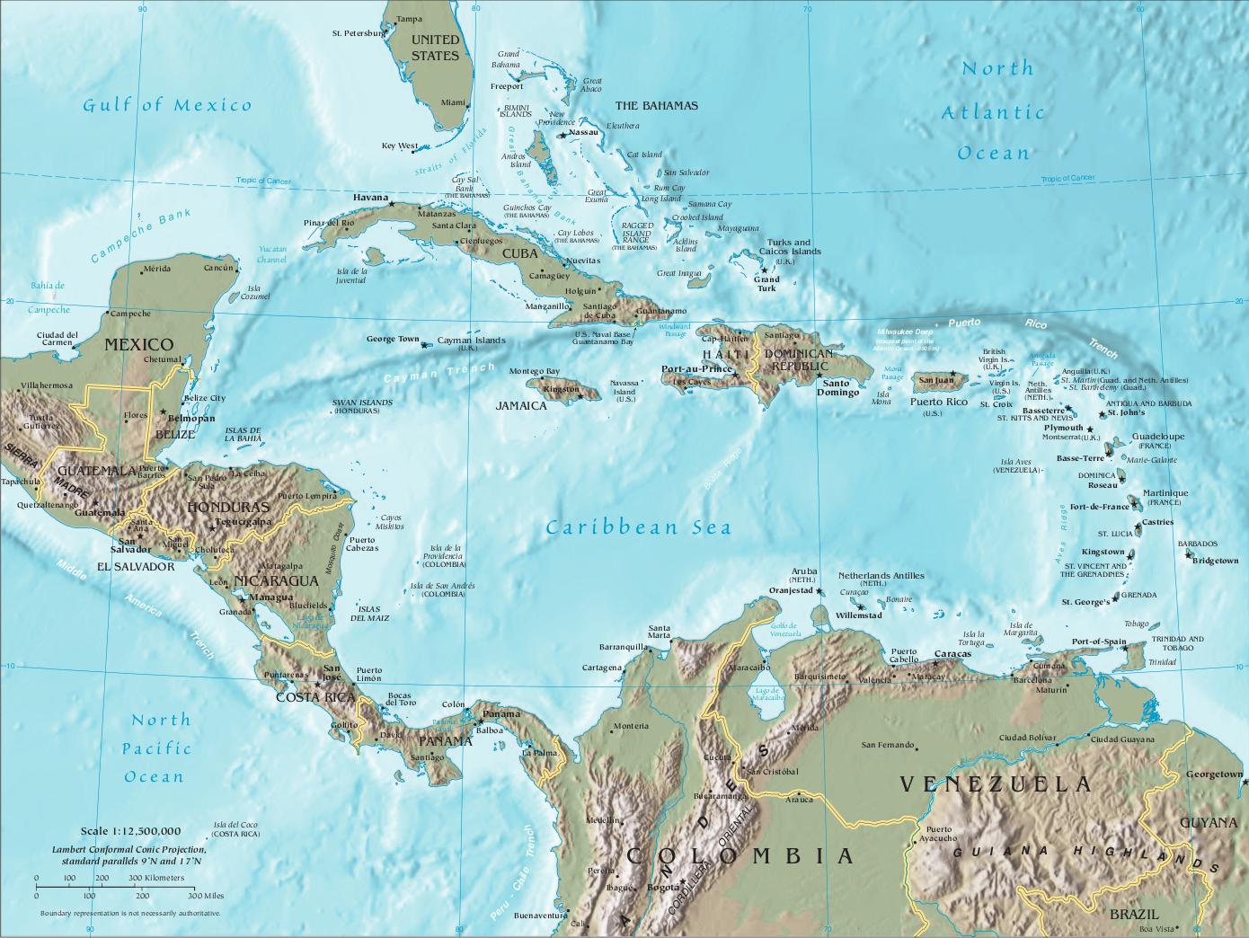 Karibik Karte Welt.Karte Der Karibik Und Zentralamerika Reliefkarte Weltkarte Com