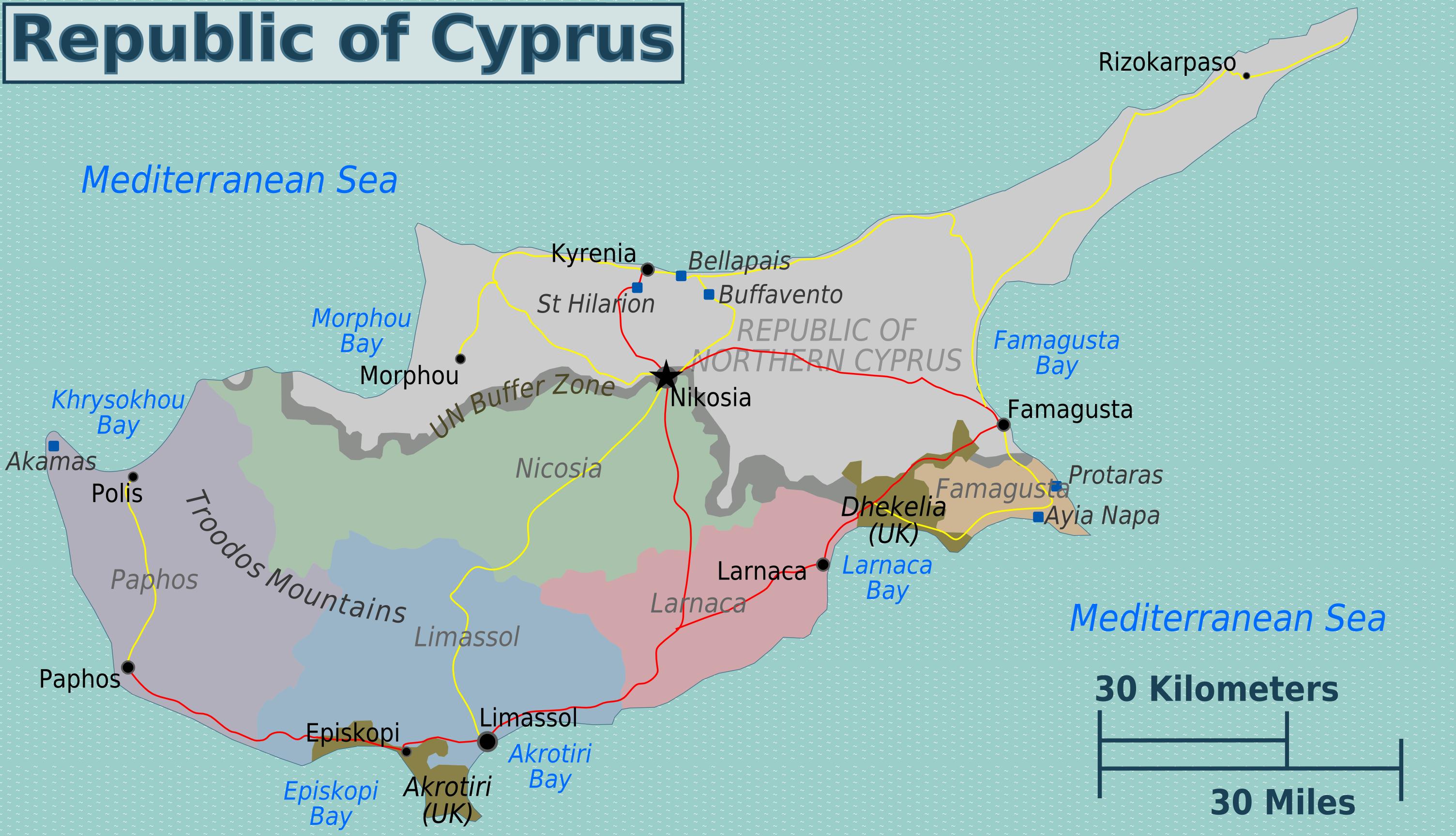 zypern weltkarte Landkarte Zypern (Karte Regionen) : Weltkarte.  Karten und  zypern weltkarte