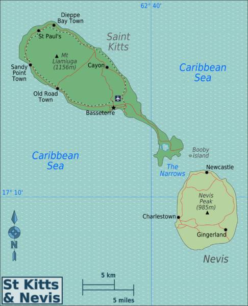 Map of Saint Kitts and Nevis (Regions) : Worldofmaps.net - online ...
