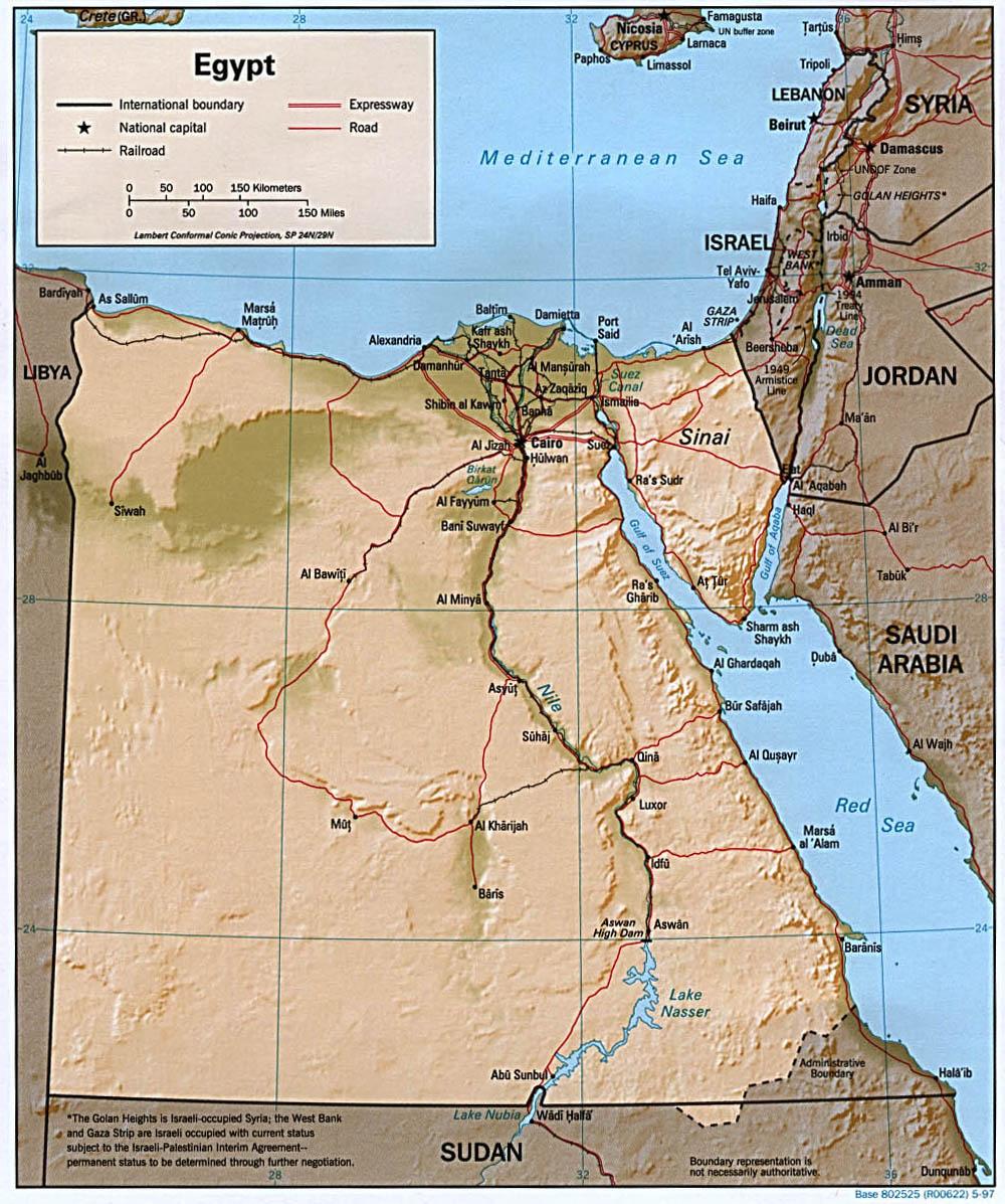 Landkarte Agypten Reliefkarte Weltkarte Com Karten Und