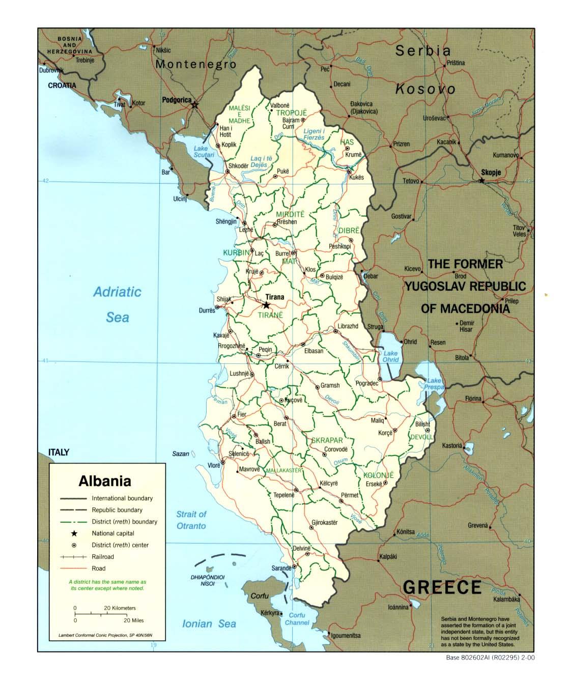 Karte Albanien.Landkarte Albanien Politische Karte Weltkarte Com Karten Und