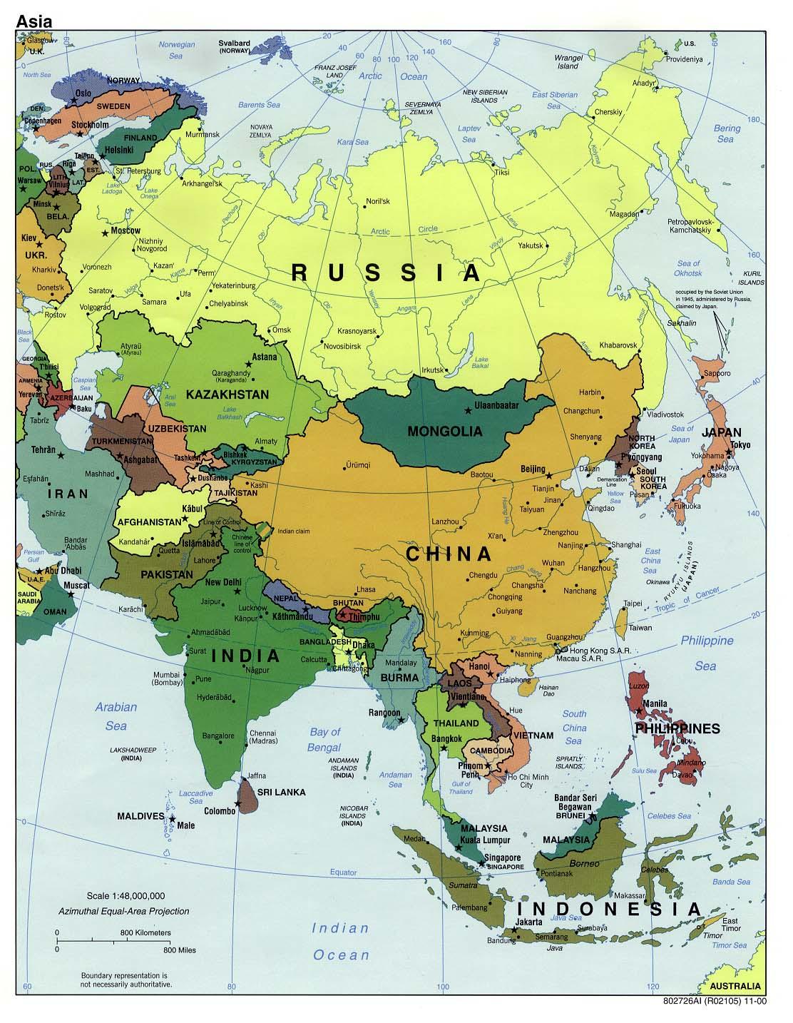 Politische Karte Asien.Karte Asien Politische Karte Weltkarte Com Karten Und