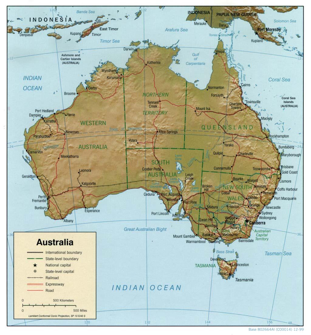 landkarte australien reliefkarte. Black Bedroom Furniture Sets. Home Design Ideas