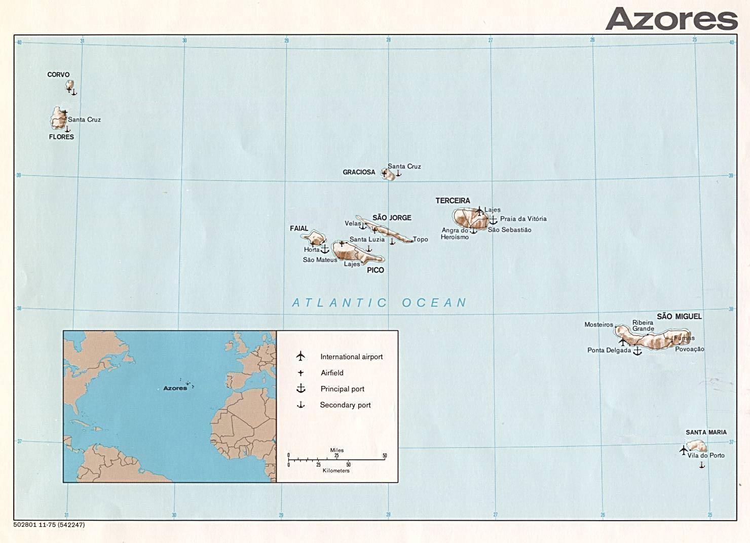 Azoren Karte.Landkarte Der Azoren übersichtskarte Weltkarte Com Karten Und