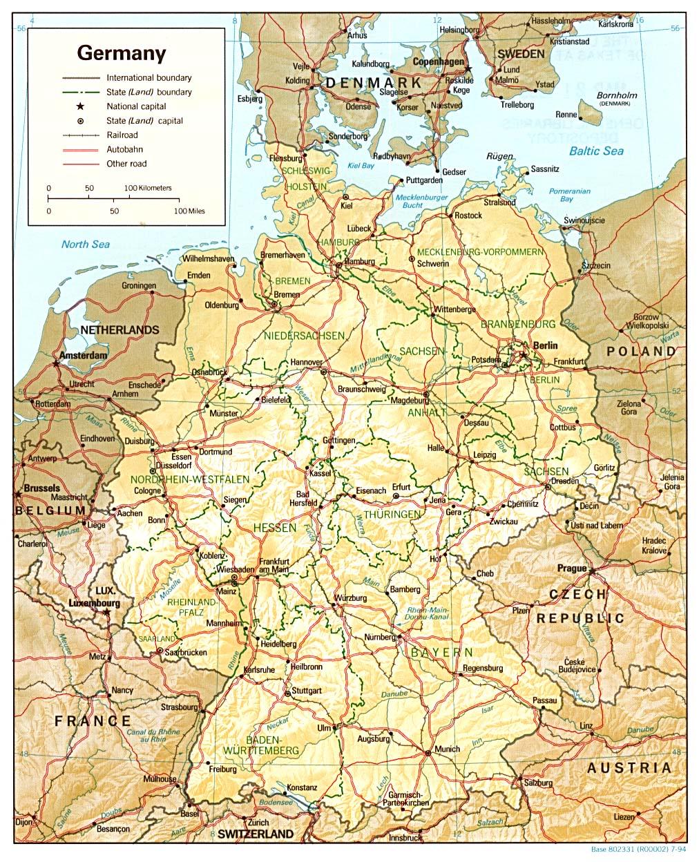 Landkarte Deutschland (Reliefkarte) : Weltkarte.com - Karten und ... - Bonn Karte Deutschland