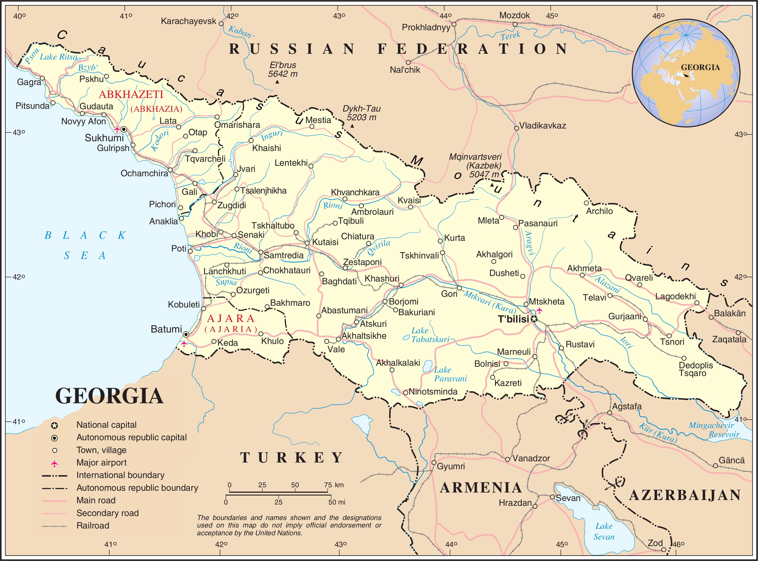 georgien weltkarte Landkarte Georgien (Übersichtskarte) : Weltkarte.  Karten und  georgien weltkarte