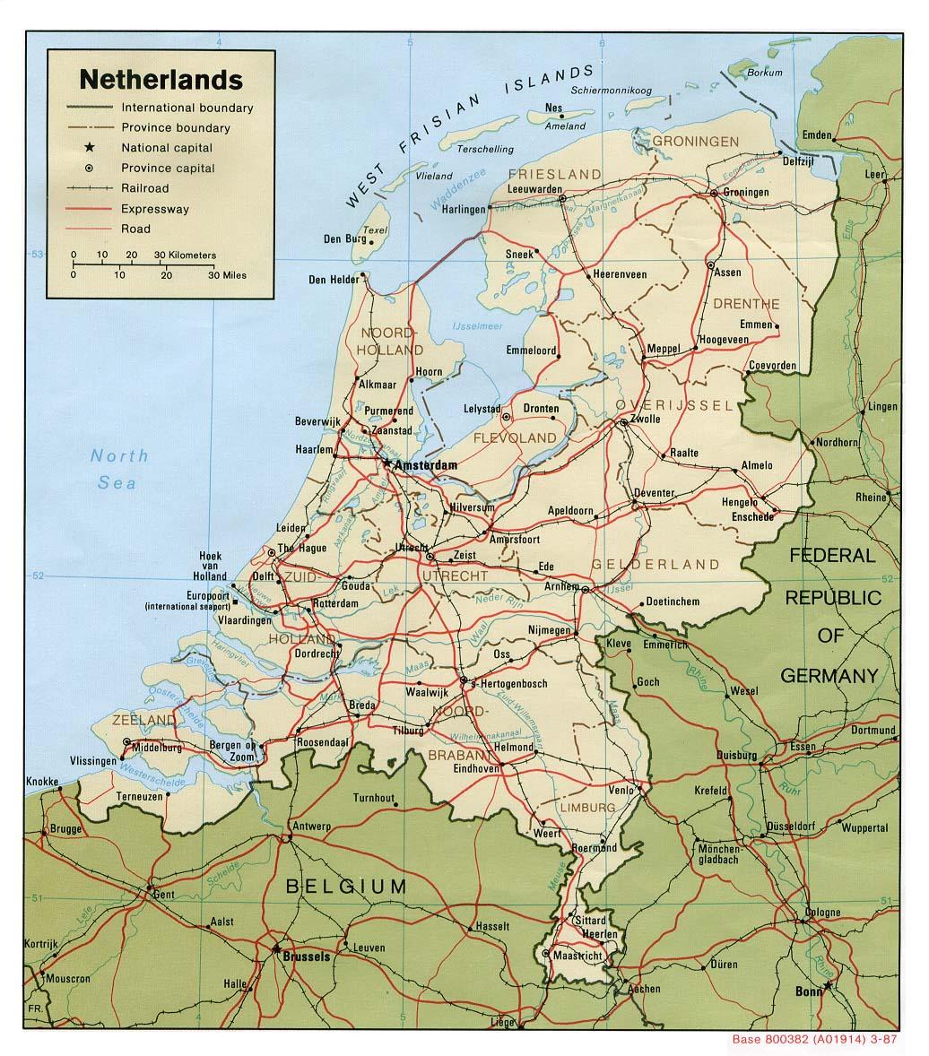 Karte Von Holland Landkarte Niederlande.Landkarte Niederlande Politische Karte Weltkarte Com Karten